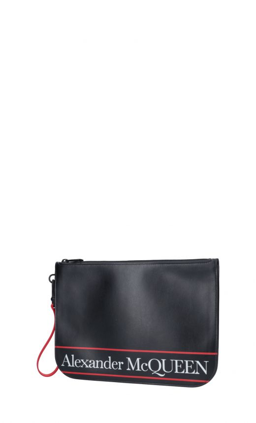 Pouch in pelle logo stampato