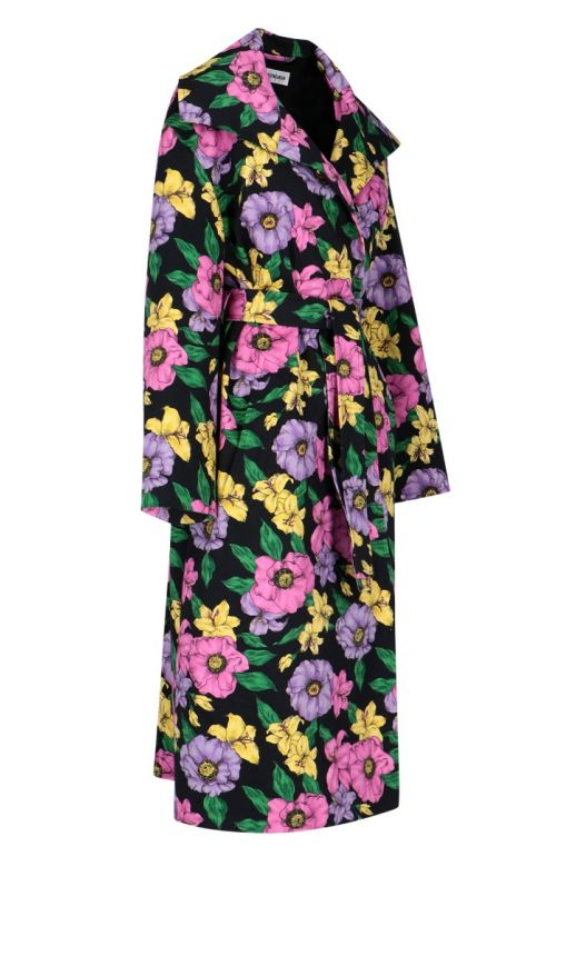 Trench oversize stampa floreale